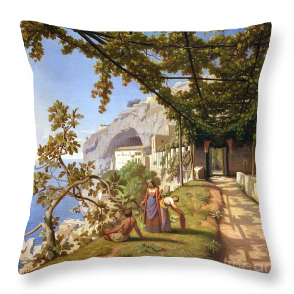 View Of Capri Throw Pillow by Theodore Aligny