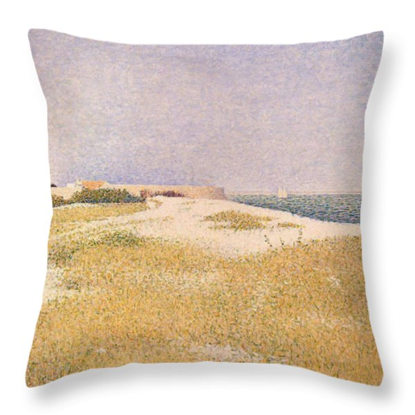 View Of Fort Samson Throw Pillow by Georges Pierre Seurat