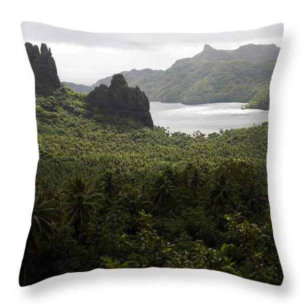 View Of Hatiheu Bay, Nuku Hiva Throw Pillow by Tim Laman