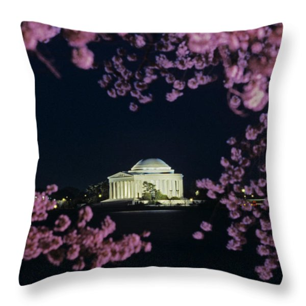 View Of The Jefferson Memorial Throw Pillow by Kenneth Garrett