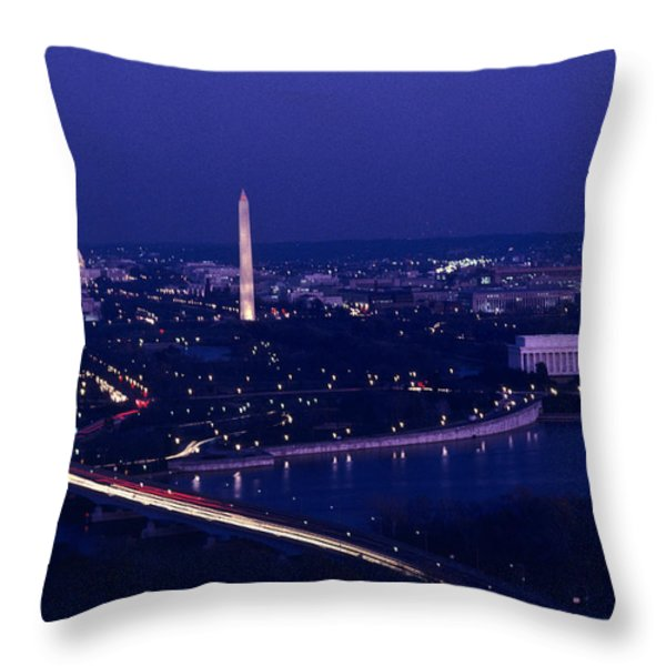 View Of Washington D.c. At Night Throw Pillow by Kenneth Garrett