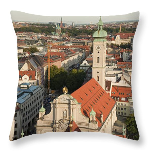 View Over Munich With Frauenkirche Throw Pillow by Greg Dale