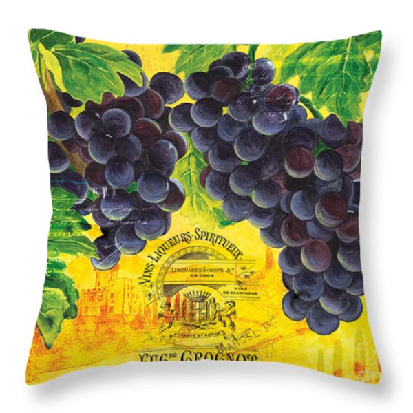 vigne de raisins Throw Pillow by Debbie DeWitt