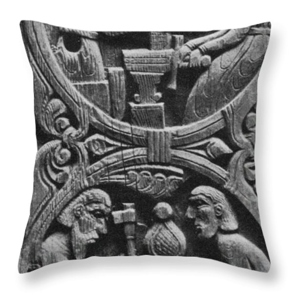 Viking Blacksmiths Forge The Sword Throw Pillow by Photo Researchers