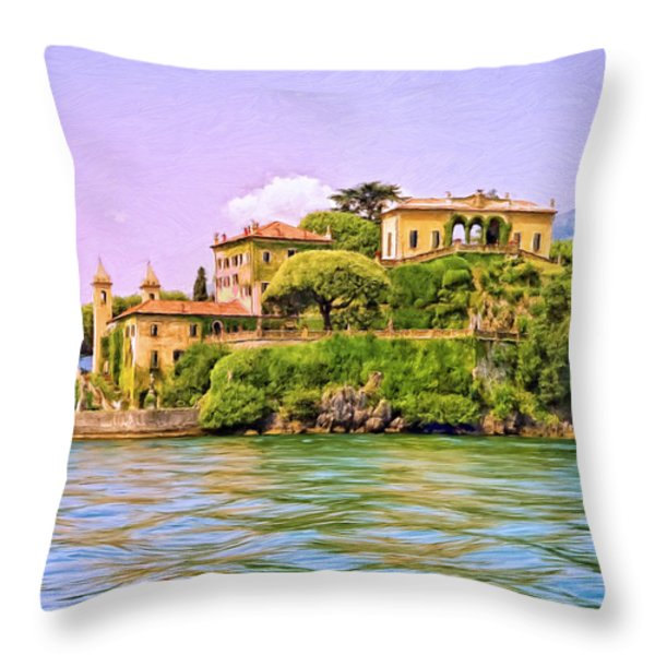 Villa on Lake Como Throw Pillow by Dominic Piperata