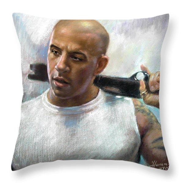 Vin Diesel Throw Pillow by Ylli Haruni