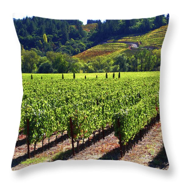 Vineyards in Sonoma County Throw Pillow by Charlene Mitchell