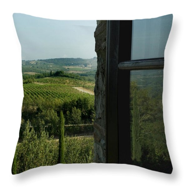 Vineyards Of Chianti Viewed Throw Pillow by Todd Gipstein
