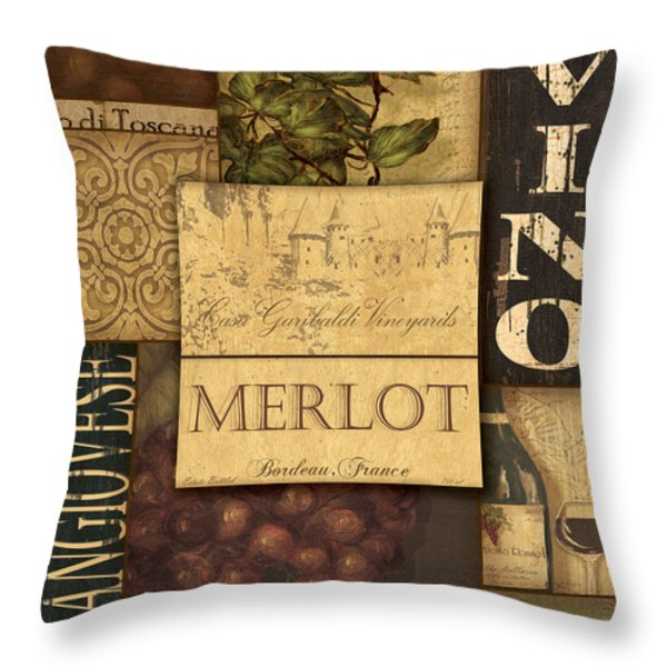 Vino Collage Throw Pillow by Grace Pullen
