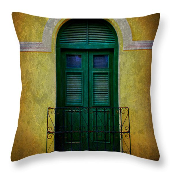 Vintage Arched Door Throw Pillow by Perry Webster