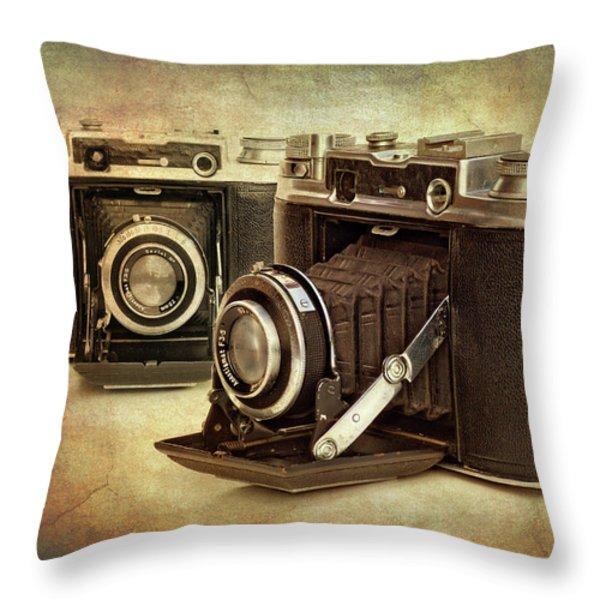 vintage cameras Throw Pillow by Meirion Matthias
