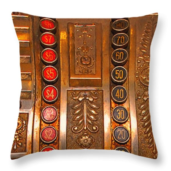 Vintage Cash Register Throw Pillow by Wingsdomain Art and Photography