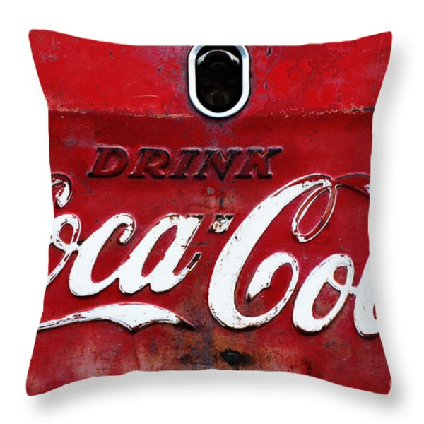 Vintage Coca Cola Sign Throw Pillow by Anahi DeCanio