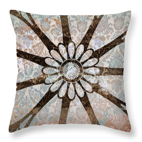 Vintage Damask Floral Abstract Throw Pillow by Frank Tschakert