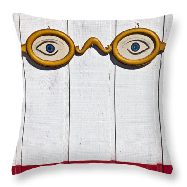 Vintage Eye Sign On Wooden Wall Throw Pillow by Garry Gay