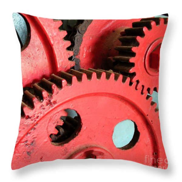 Vintage Gears Throw Pillow by Yali Shi