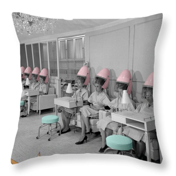 Vintage Hair Salon Throw Pillow by Andrew Fare