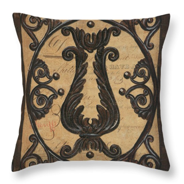 Vintage Iron Scroll Gate 2 Throw Pillow by Debbie DeWitt