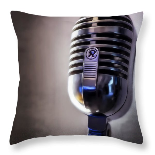 Vintage Microphone 2 Painted Throw Pillow by Scott Norris
