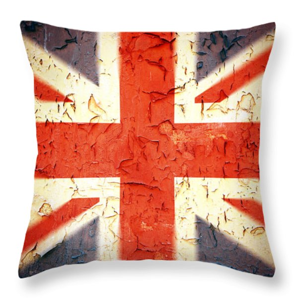 Vintage Union Jack Throw Pillow by Jane Rix