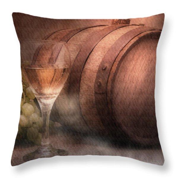 Vintage Wine Throw Pillow by Tom Mc Nemar