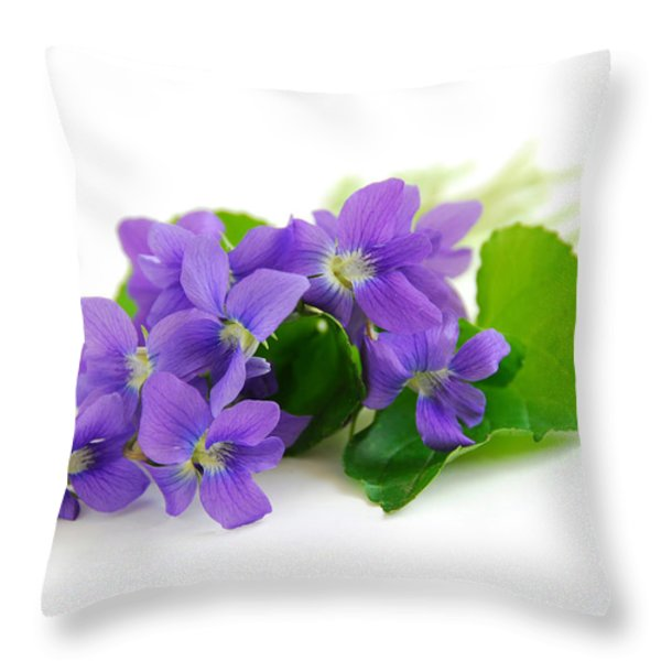 Violets on white background Throw Pillow by Elena Elisseeva