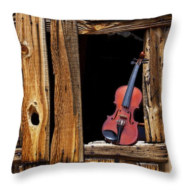 Violin in window Throw Pillow by Garry Gay