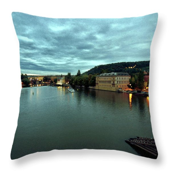 Vltava View 2 Throw Pillow by Madeline Ellis