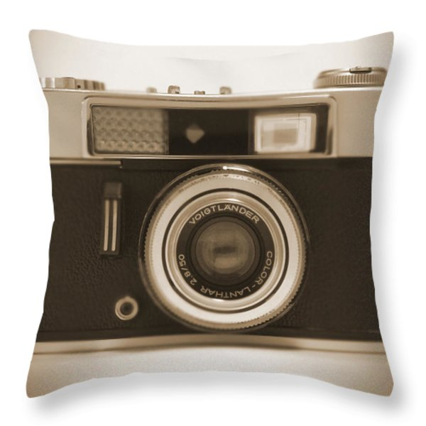 Voigtlander Rangefinder Camera Throw Pillow by Mike McGlothlen