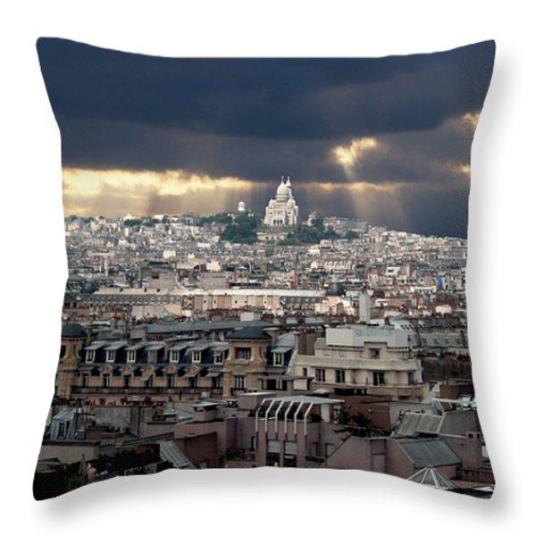 Vue de la Butte Montmartre.Roofs of Paris Throw Pillow by BERNARD JAUBERT