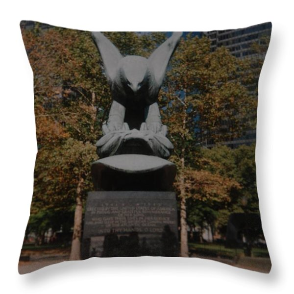 W W II Eagle Throw Pillow by Rob Hans