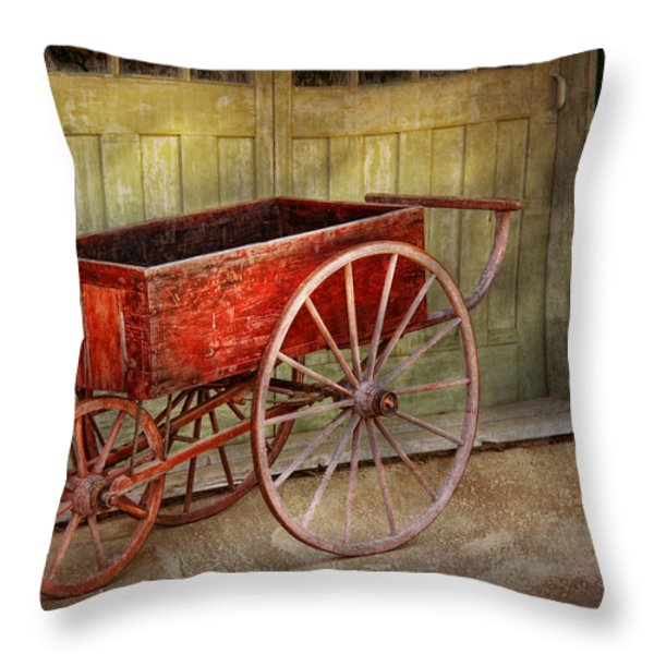 Wagon - That old red wagon  Throw Pillow by Mike Savad