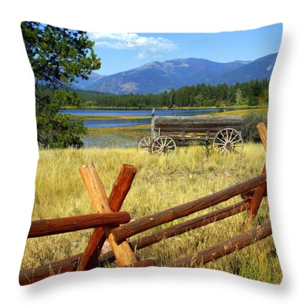 Wagon West Throw Pillow by Marty Koch