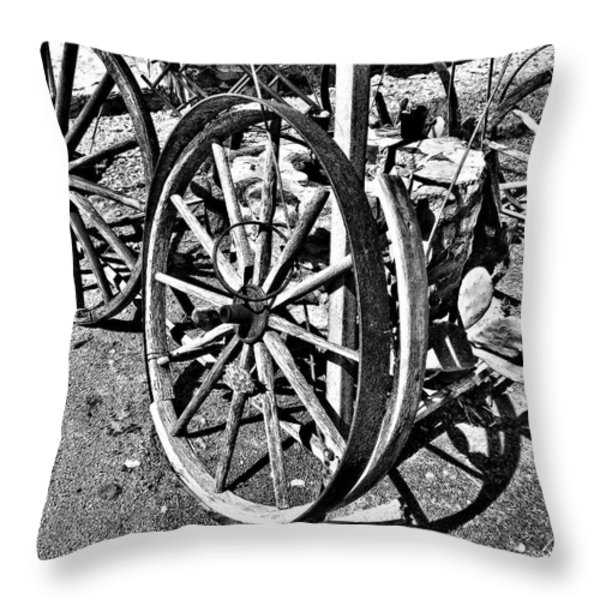 Wagon Wheel Graveyard Throw Pillow by Douglas Barnard