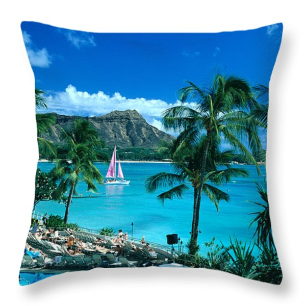 Waikiki And Sailboat Throw Pillow by Tomas del Amo - Printscapes