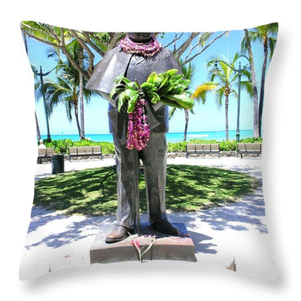 Waikiki Statue - Prince Kuhio Throw Pillow by Mary Deal