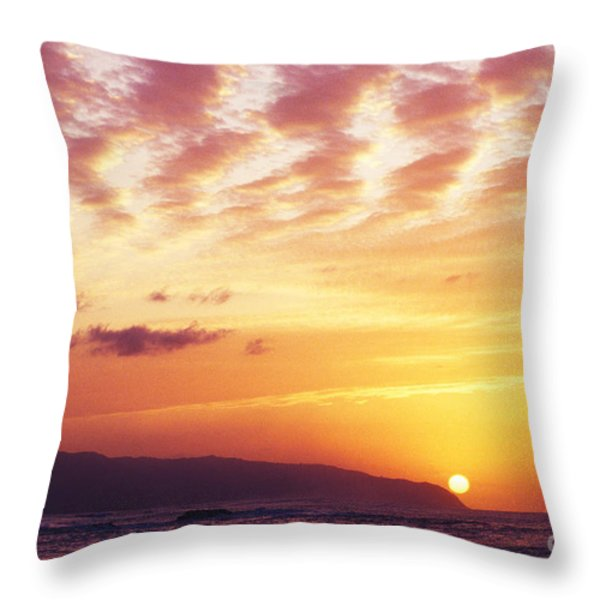 Waimea Bay Sunset Throw Pillow by Bob Abraham - Printscapes