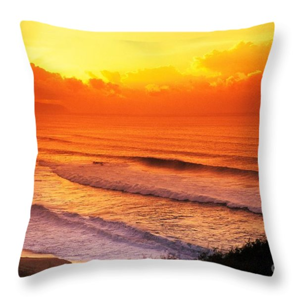 Waimea Bay Sunset Throw Pillow by Vince Cavataio - Printscapes