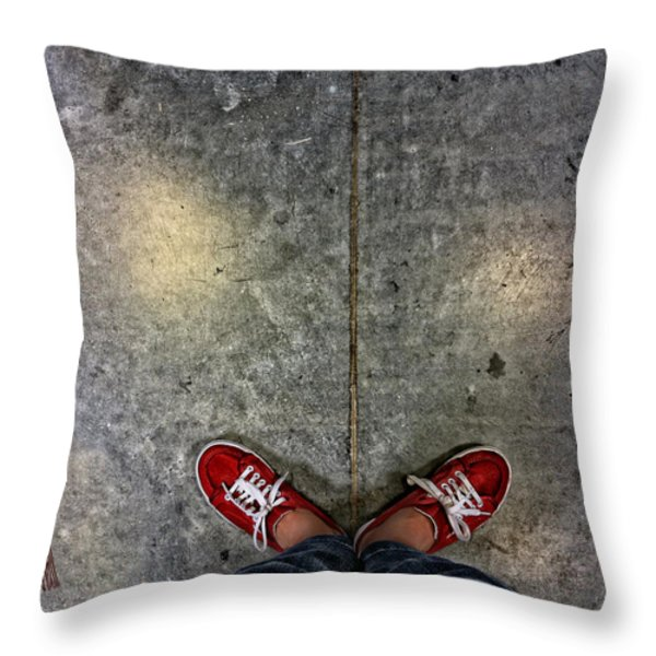 Waiting For Clown School Throw Pillow by Donna Blackhall