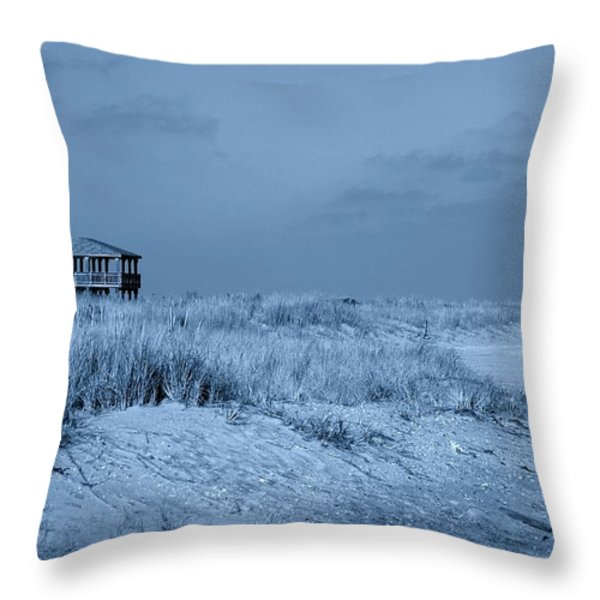 Waiting For Summer - Jersey Shore Throw Pillow by Angie Tirado