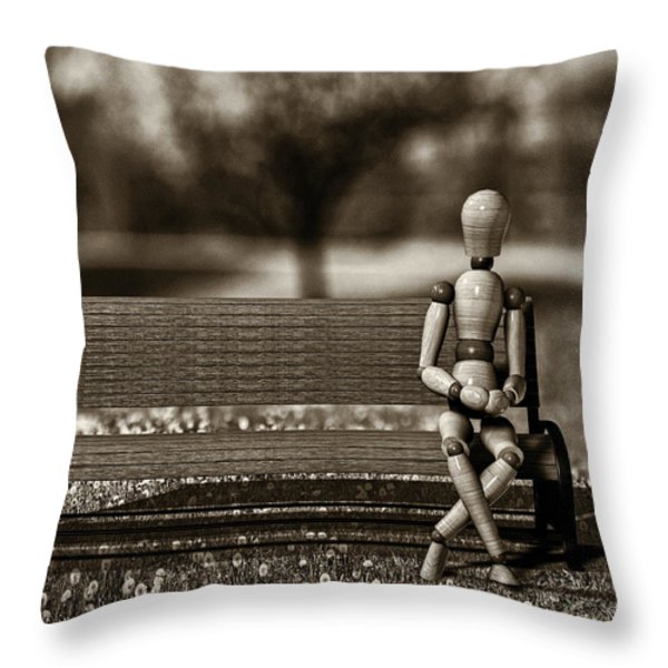 Waiting For The Taxi Throw Pillow by Bob Orsillo