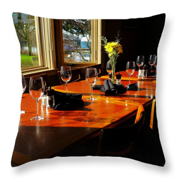 WAITING TABLE Throw Pillow by LAWRENCE CHRISTOPHER