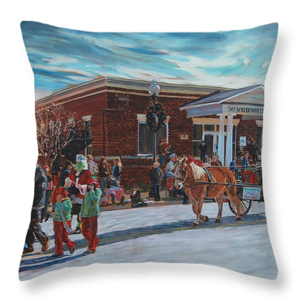 Wake Forest Christmas Parade Throw Pillow by Tommy Midyette
