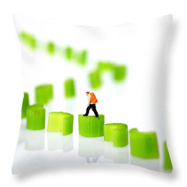 Walking On Celery  Throw Pillow by Paul Ge