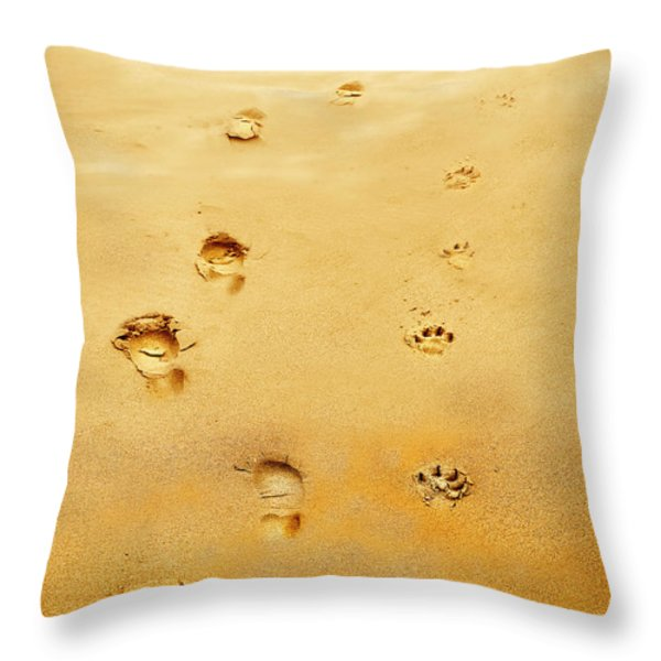 Walking the Dog Throw Pillow by Mal Bray