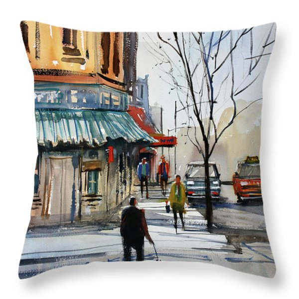 Walking the Dog Throw Pillow by Ryan Radke