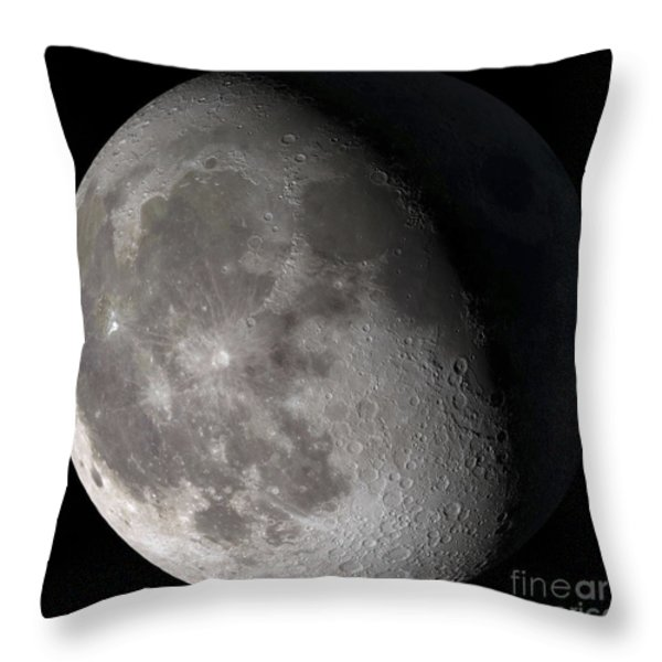 Waning Gibbous Moon Throw Pillow by Stocktrek Images