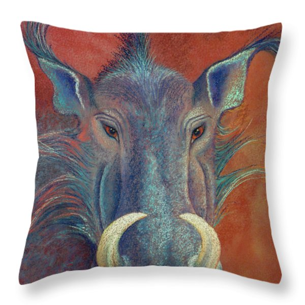 Warthog Defiance Throw Pillow by Tracy L Teeter