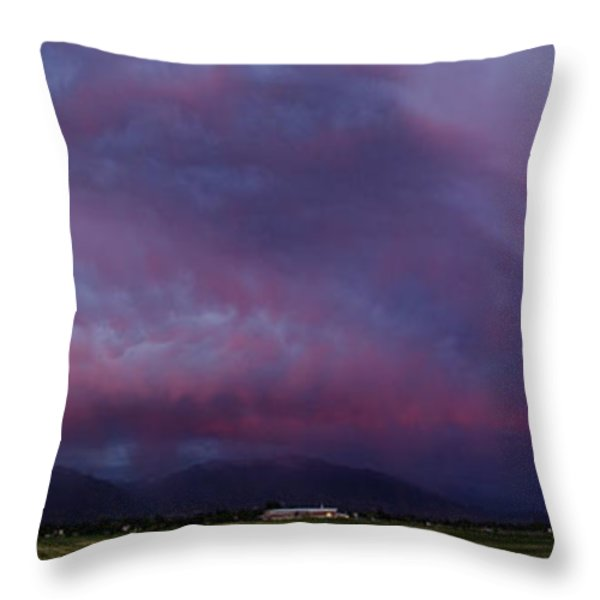 Wasatch Mountain Sunset Throw Pillow by La Rae  Roberts