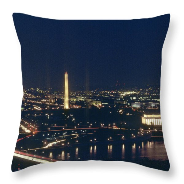 Washington D.c. At Night, Seen Throw Pillow by Kenneth Garrett